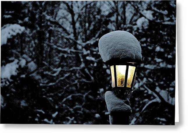 Lamp Light In Winter Greeting Card by Carolyn Reinhart