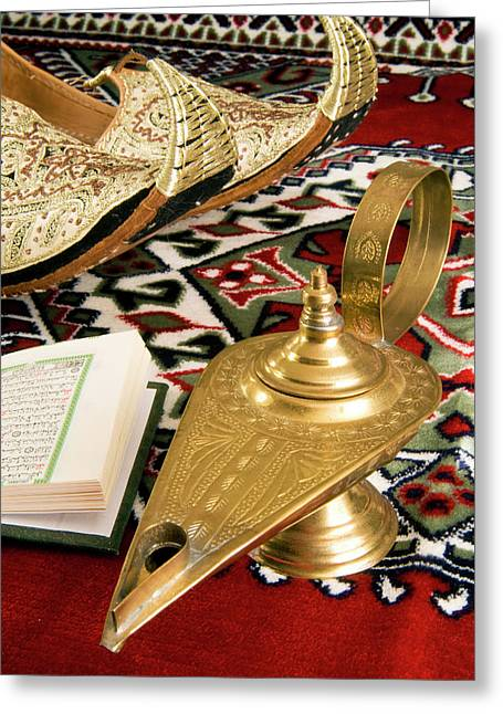 Lamp Of Aladdin, Arabic Shoes, Holy Greeting Card by Nico Tondini