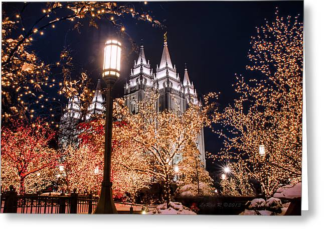 Lamp Post Slc Temple Greeting Card by La Rae  Roberts