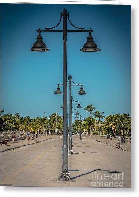 Lamp Posts White Street Pier Key West - Hdr Style Greeting Card