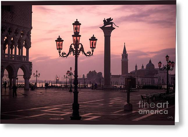 Lamppost Of Venice Greeting Card by Prints of Italy
