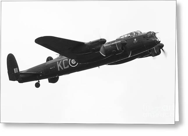 Lancaster Bomber Mono Greeting Card by J Biggadike