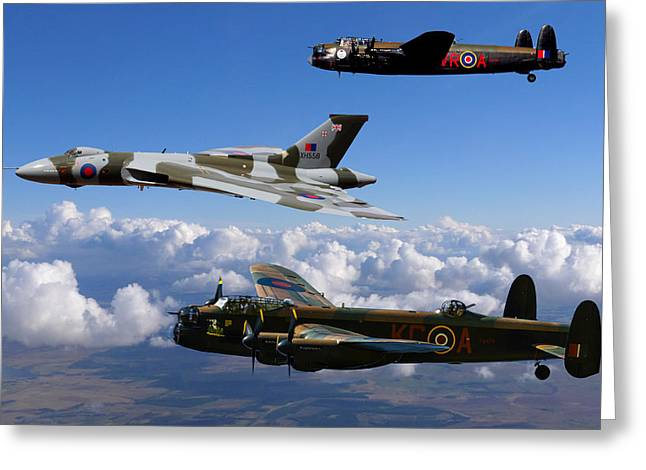 Lancaster Bombers And Vulcan Xh558 Greeting Card by Ken Brannen