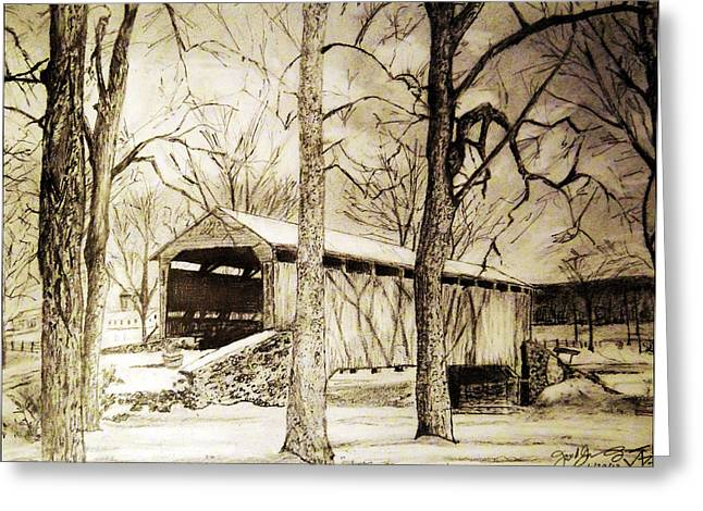 Lancaster Covered Bridge In Winter Greeting Card by Jose A Gonzalez Jr