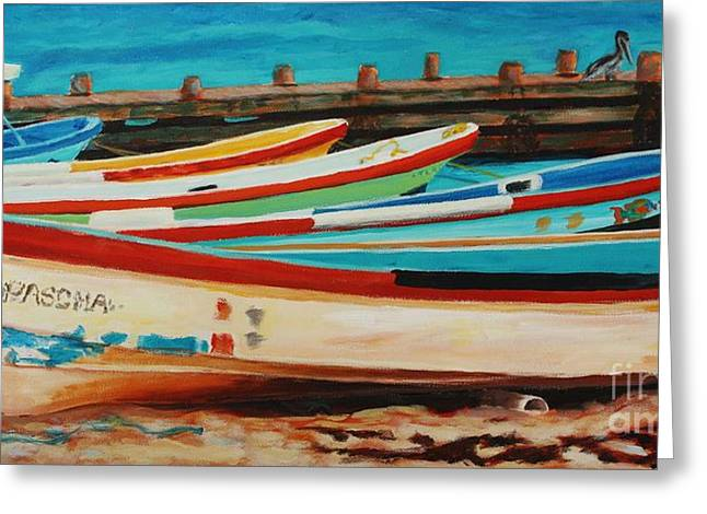 Greeting Card featuring the painting Lanchas Mexicanas by Janet McDonald