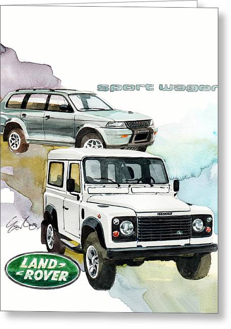 Land Rover Defender And Mitsubishi Sport Wagon Greeting Card by Yoshiharu Miyakawa