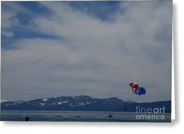 Greeting Card featuring the photograph Parasail Landing by Bobbee Rickard