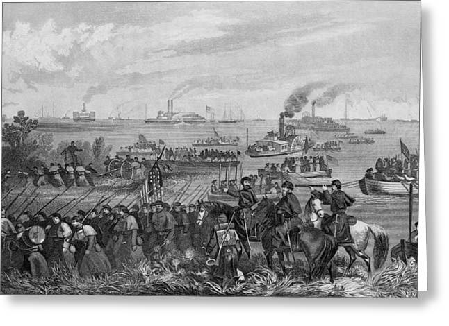 Landing Of Troops On Roanoke Island, Burnside Expedition, 8th February 1862, Engraved By George E Greeting Card by William Momberger