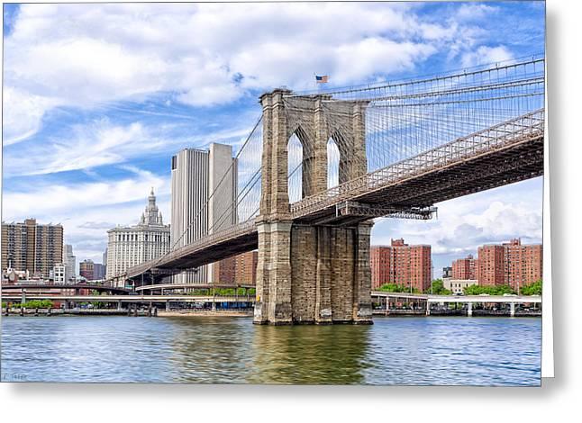 Landmark Brooklyn Bridge Greeting Card by Mark E Tisdale