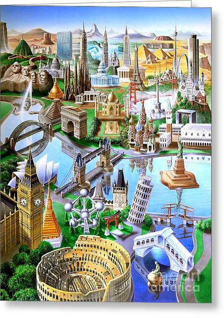 Landmarks Of The World Greeting Card