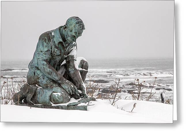 Land's End Lobsterman Statue Greeting Card by Benjamin Williamson