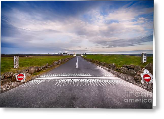 Lands End Start And Finish Line Greeting Card by Chris Thaxter