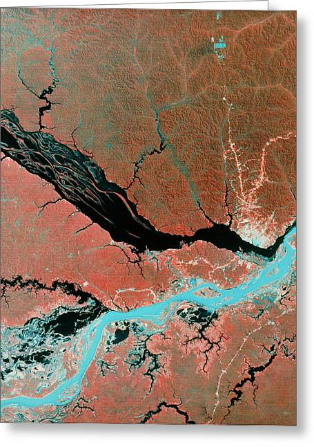 Landsat Image Of Confluence Of Amazon & Rio Negro Greeting Card