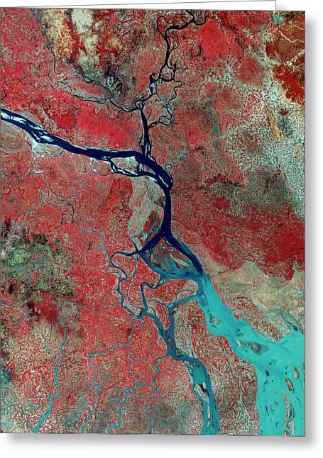 Landsat Photo Of The Ganges Delta Greeting Card