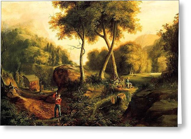 Greeting Card featuring the painting Landscape - 1845 by Thomas Cole