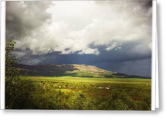 Landscape And Cloudy Sky In Iceland Greeting Card