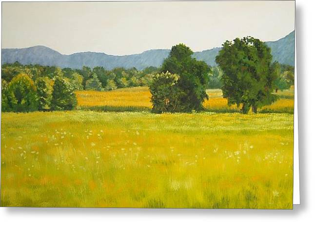 landscape art print oil painting for sale Fields Greeting Card by Diane Jorstad