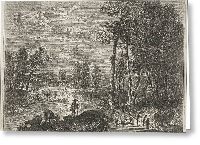 Landscape At Night With Farmers And Livestock Greeting Card