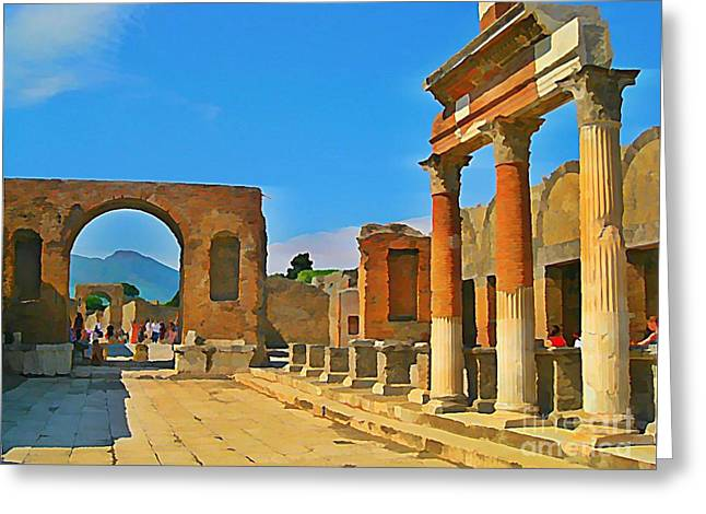 Landscape At Pompeii Italy Ruins Greeting Card by John Malone