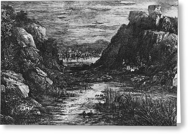 Landscape Behind The Defile Greeting Card by Rodolphe Bresdin