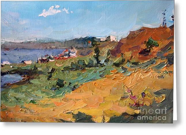 Landscape. Berdyansk Greeting Card by Antony Valyukonis
