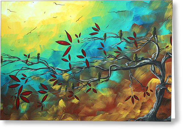 Landscape Bird Original Painting Family Time By Madart Greeting Card by Megan Duncanson