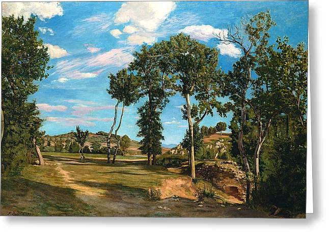 Landscape By The Lez River Greeting Card by Jean Frederic Bazille