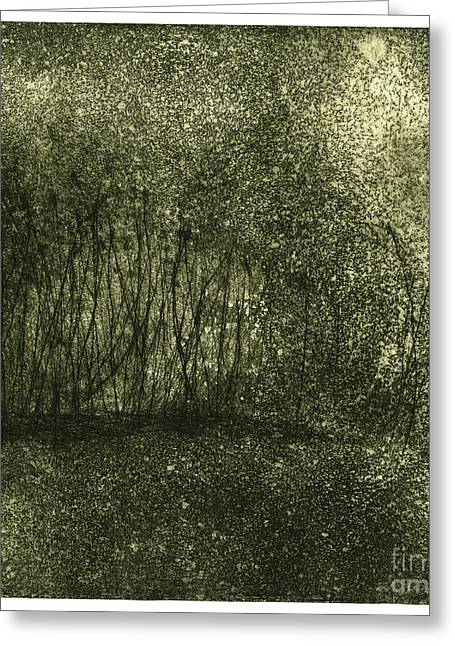 Mystical Landscape - Plants -reed - Botany - Biotope - Habitat - Etching - Fine Art Print - Stock Image Greeting Card by Urft Valley Art