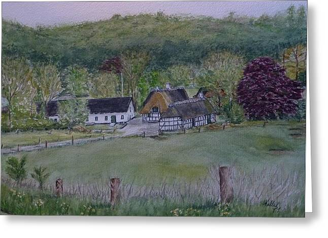 Greeting Card featuring the painting Landscape In Denmark by Kelly Mills