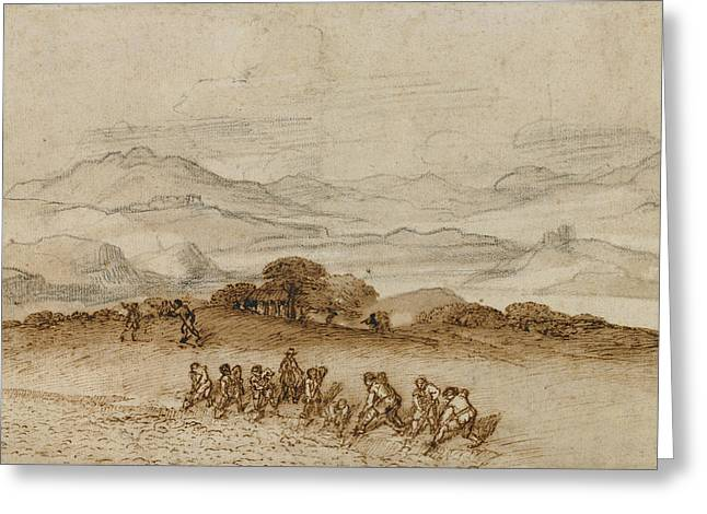 Landscape In Latium With Farm Laborers Claude Lorrain Greeting Card by Litz Collection