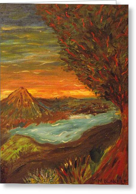Greeting Card featuring the painting Landscape In Portrait by Martin Blakeley