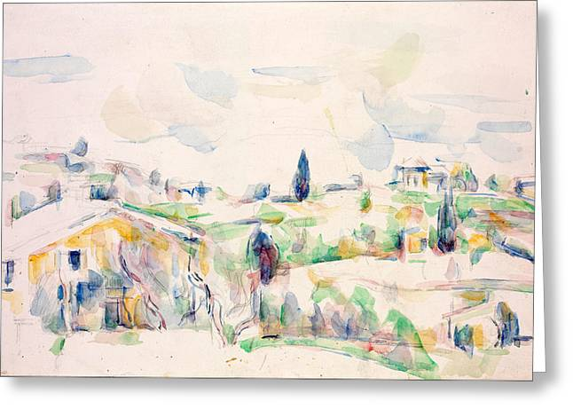 Landscape In Provence Greeting Card by Paul Cezanne