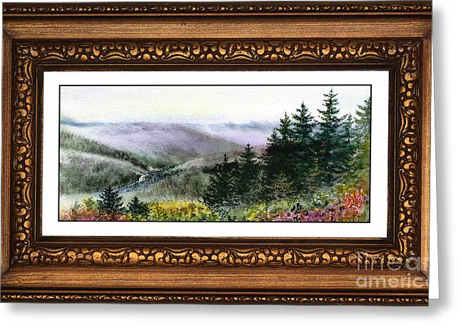 Landscape In Vintage Frame Greeting Card