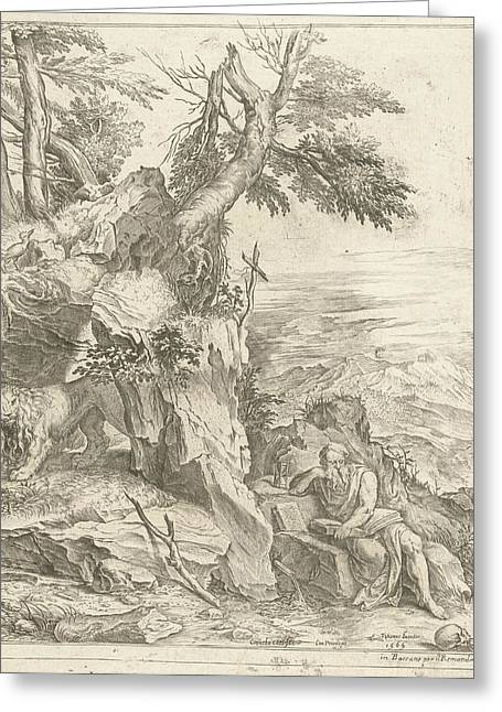 Landscape In Which Hieronymus Is Reading Greeting Card by Cornelis Cort And Remondini