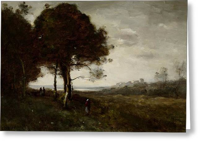 Landscape Greeting Card by Jean Baptiste Camille Corot