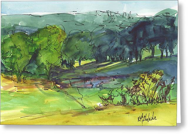 Landscape Lakeway Texas Watercolor Painting By Kmcelwaine Greeting Card