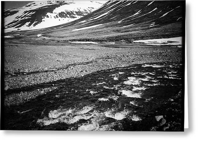 Landscape North Iceland Black And White Greeting Card