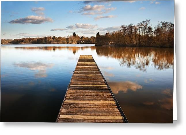 Landscape Of Fishing Jetty On Calm Lake At Sunset With Reflectio Greeting Card
