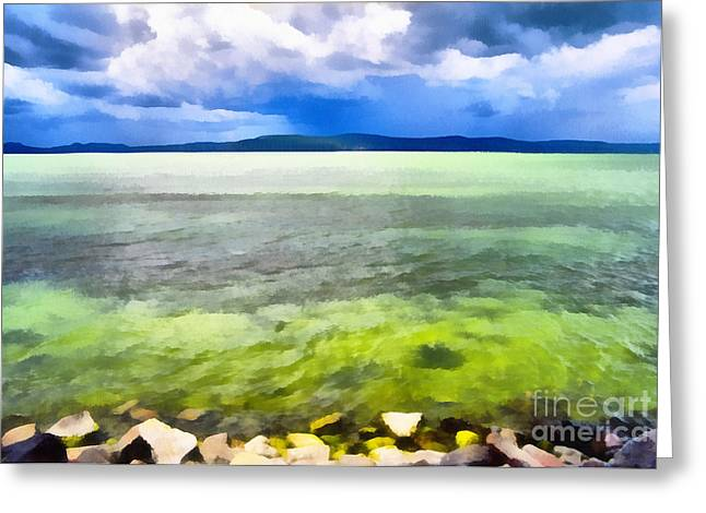 Landscape Of The Balaton Lake Greeting Card by Odon Czintos