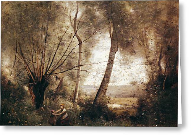 Landscape Oil On Canvas Greeting Card by Jean Baptiste Camille Corot