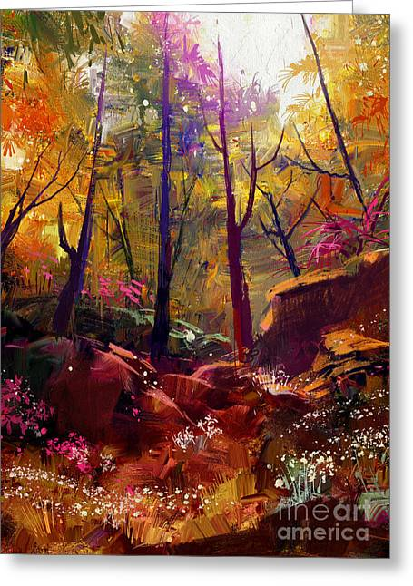 Landscape Painting Of Beautiful Autumn Greeting Card