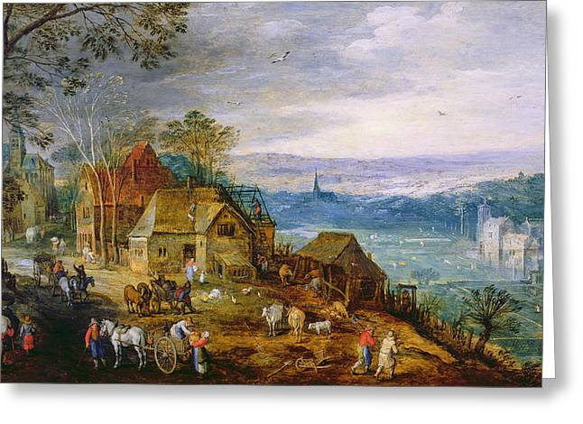 Landscape Scene Oil On Canvas Greeting Card by Tobias Verhaecht