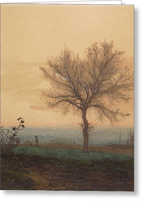 Landscape With A Bare Tree And A Plowman Léon Bonvin Greeting Card