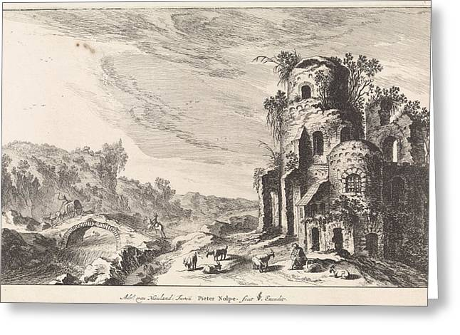 Landscape With A Bridge And A Ruin, Print Maker Pieter Nolpe Greeting Card
