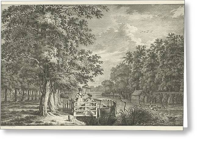 Landscape With A Couple On The Bank Of The River Gein Greeting Card by Jan Evert Grave