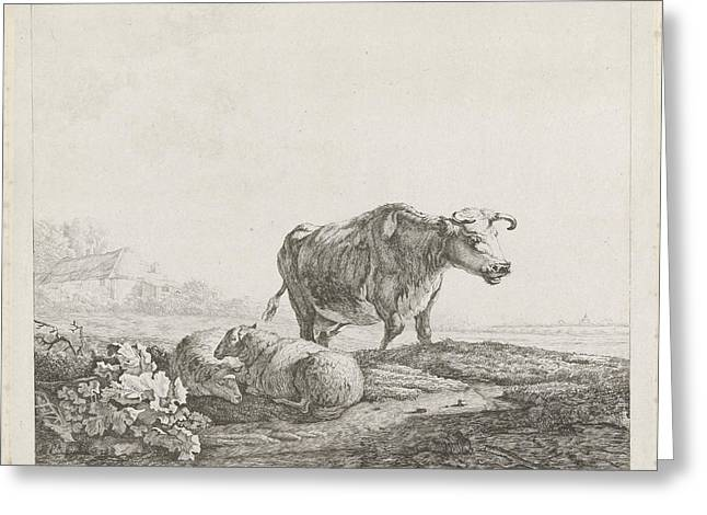Landscape With A Cow And Two Sheep, Christiaan Godfried Greeting Card
