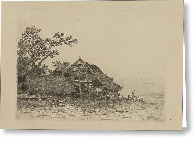 Landscape With A Dilapidated Shed, Remigius Adrianus Haanen Greeting Card by Remigius Adrianus Haanen