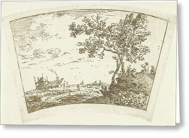 Landscape With A Farm And A Haystack Left And Right Two Greeting Card by Cornelis Van Noorde