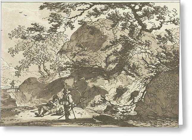 Landscape With A Fisherman And A Man Resting Greeting Card by Hendrik Meijer And Timothy Sheldrake