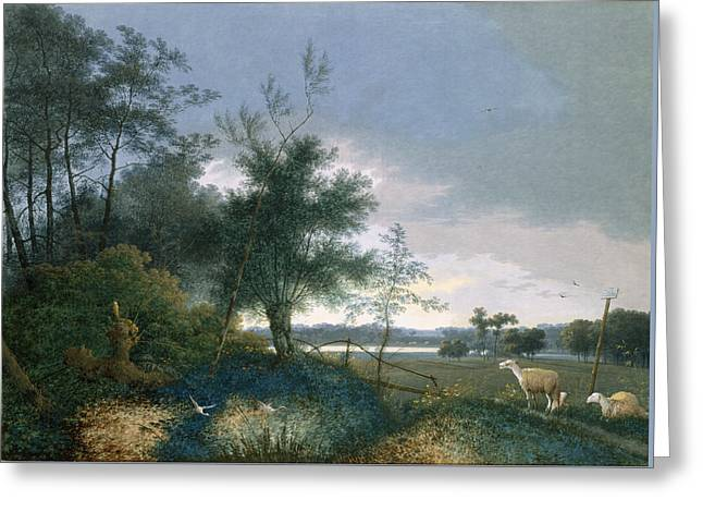 Landscape With A Fox Chasing Geese Greeting Card by Joseph August Knip